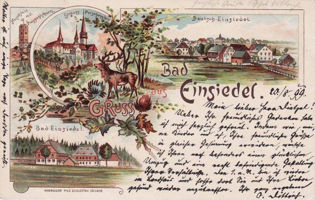 Alte Ansichtskarte von Bad Einsiedel/Seiffen